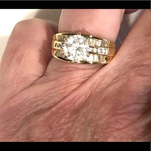 Absolute CZ  1 ct simulated diamond gold ring 8